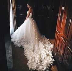 Princess wedding dress. Slowly fades into feathers in train.