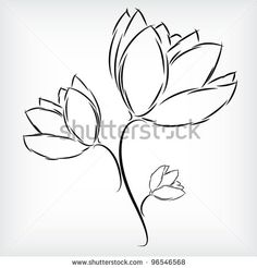 Easy to draw flowers pretty flowers by redsommer for details in simple hand drawing of beautiful three tulip flowers by daniel sochor via shutterstock mightylinksfo