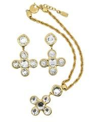 YSL Vintage Robert Goossens Crystal Byzantine Cross Necklace and Earri - from Amarcord Vintage Fashion