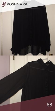 Blouse His blouse is all black & very sheer. It is super flowy & can be easily dressed up! dizzylizzy Tops Blouses