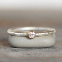 Hey, I found this really awesome Etsy listing at https://www.etsy.com/listing/206512020/tiny-diamond-ring-18k-gold-and-silver