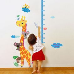 Cute Cartoon Giraffe Height stickers DIY Removable Waterproof Wall Stickers Home Decor for Kids&baby Room Livingroom Art Mural