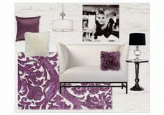Glam Living Room - purple, black, and white by jillcicconeintd | Olioboard #Purple