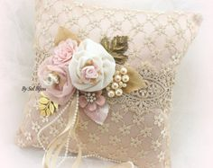 ***Ready To Ship This magnificent Ring Bearer Pillow has been crafted in shades of ivory, champagne, gold and rose blush. Flores Shabby Chic, Shabby Chic Flowers, Shabby Chic Crafts, Ring Bearer Pillows, Ring Pillows, Gold Pillows, Ring Pillow Wedding, Wedding Pillows, Wedding Rings Rose Gold