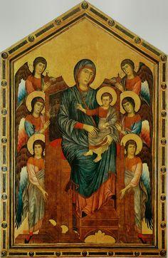 Cimabue:  Virgin and Child Enthroned  (Madonna di S. Trinita, ca. 1280, Firenze, Museo degli Uffizi)