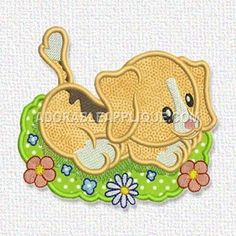 This free embroidery design from Adorable Applique is a puppy.