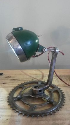Upcycled Bicycle Lamp by Bauckham Designs Car Part Furniture, Automotive Furniture, Automotive Decor, Diy Furniture, Automotive Tools, Automotive Industry, Steampunk Furniture, Steampunk Lamp, Industrial Furniture
