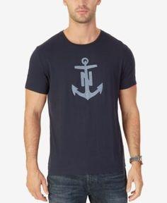 Nautica Men's Chambray Anchor-Print T-Shirt - Blue 3XL