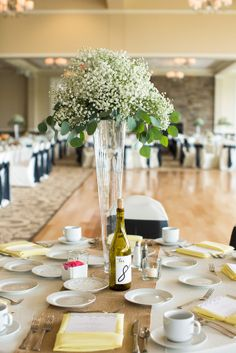 Wine Botte Table Numbers & Burlap Runners  Photo Credit: Fyrefly Photography