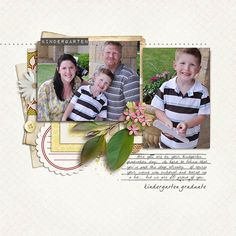 Kindergarten Graduate Digital Scrapbook Layout using Rejuvenate by Sahlin Studio