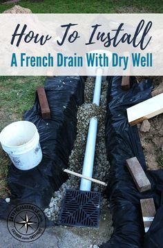 How To Install A French Drain with Dry Well. A French drain can help prevent ground and surface water from penetrating or damaging building foundations. Backyard Drainage, Landscape Drainage, Gutter Drainage, Backyard Projects, Outdoor Projects, Diy Projects, Outdoor Ideas, Backyard Designs, Backyard Ideas