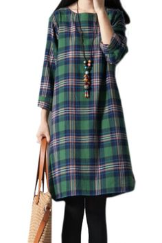 Casual Plaid Three Quarter Sleeve Loose Fit Dress#women fashion#summer outfits#fall outfits#casual wear#azbro#hello fall