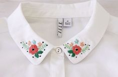 Embroidery Tutorials DIY Floral Embroidered Collar - free pattern by Bev from Flamingo Toes - Shirt Embroidery, Hand Embroidery Patterns, Vintage Embroidery, Cross Stitch Embroidery, Embroidery Designs, Flower Embroidery, Cute Embroidery, Crewel Embroidery, Embroidery Thread