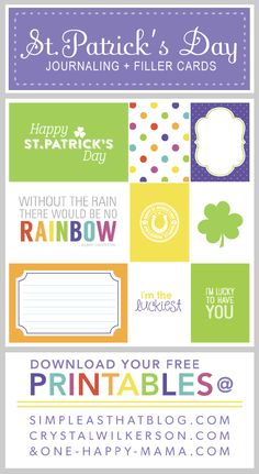 FREE set of St. Patrick's Day Journaling and Filler Cards!
