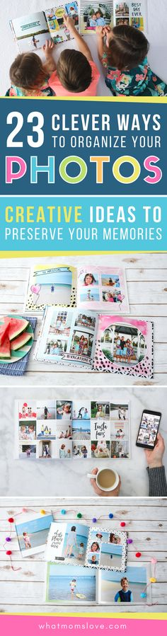 These yearly family photo book ideas are so creative! Includes tips for how to make your own personalized annual yearbook with tutorials for layout, design and best website to use. These are awesome keepsakes for your kids! Cute Crafts, Crafts For Kids, Home Organization Hacks, Clutter Organization, Organizing Ideas, Book Design, Layout Design, Make Your Own, Make It Yourself