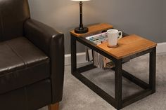 Here's a convenient, stylish way to store your favorite magazines close at hand but out of the way. This clever table features a cutout area with aluminum rods that allow you to hang magazines instead of stack them. You can build one as an end table, or pair two together to make a coffee table.