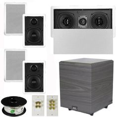 Theater Solutions 51 Home Audio Speakers 4 Speakers 1 Center 8 Powered Sub and More TS50WL51SET2 -- You can get additional details at the image link.(It is Amazon affiliate link) #black