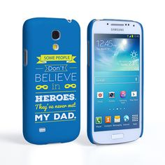 Caseflex Dad Heroes Quote Samsung Galaxy S4 Mini Case - Blue | Mobile Madhouse