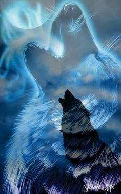 Wolf is playing - Madara Wallpaper, Wolf Wallpaper, Animal Wallpaper, Mystical Animals, Mythical Creatures Art, Tier Wolf, Wolf Artwork, Wolf Painting, Fantasy Wolf