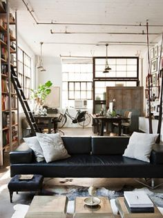 My Houzz: International Meets Industrial in a Brooklyn Loft.loft living is so intriguing. Industrial Interior Design, Industrial Living, Industrial Interiors, Home Interior, Interior Architecture, Industrial Loft, Vintage Industrial, Industrial Decorating, Industrial Furniture