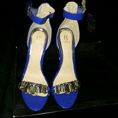 Something Blue! ! If you want to add pop of color these Cobalt blue diamond studded babies are for you. . Never worn out side of my home they are too tall for me  but just right for you. . Shoes Heels