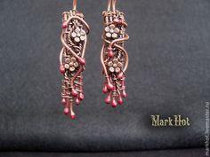 "Earrings handmade.  Fair Masters - handmade.  Buy Earrings made of copper ""Sakura"".  Handmade.  Brown, copper"