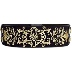 H&M Wide belt (1.165 RUB) ❤ liked on Polyvore featuring accessories, belts, h&m, black, gold, snap belt, elastic belt, thick belt, wide belts and h&m belts