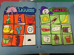 Liquids and solids file folder game File Folder Activities, File Folder Games, File Folders, Road Trip Activities, Science Activities, Learning Time, Kids Learning, Math Wall, Sensory Games
