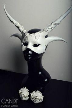 White demon mask pasties