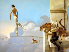 All of the images of these incredible paintings are copyrighted to Michael Parkes. Visit his official website The Art of Michael Parkes