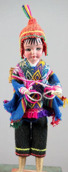 Vintage Peruvian South American Hand Made  Folk Art Doll