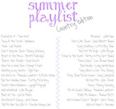 Summer Playlist- Country.