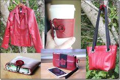 Red Leather Jacket Projects - Crafty Staci (Was eine Frau alles aus einem Ledermantel genäht hat...)