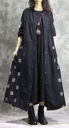 Fine black coat for woman casual Winter coat print patchwork coat , – Linen Dresses For Women Abaya Fashion, Muslim Fashion, Boho Fashion, Autumn Fashion, Fashion Dresses, Fashion Coat, Fashion Clothes, Iranian Women Fashion, Black Women Fashion