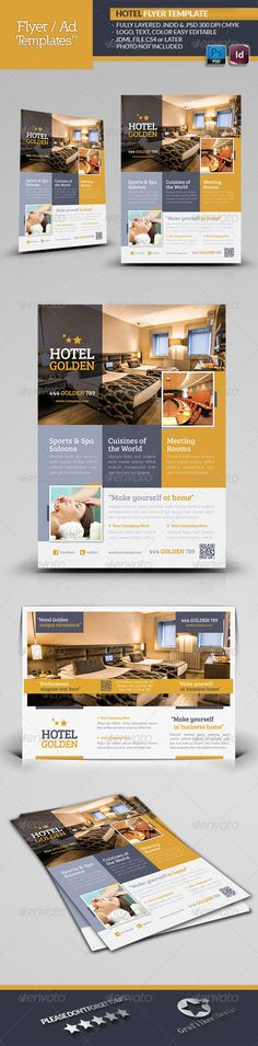 Hotel Golden Flyer Template — Photoshop PSD #deluxe #accommodation • Available here → https://graphicriver.net/item/hotel-golden-flyer-template/4965721?ref=pxcr