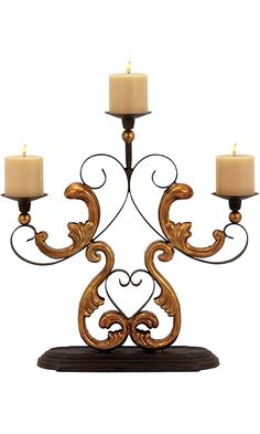 Plutus Brands Classic Metal Candelabra with Gold Finished Baroque Accents Best Price