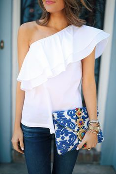 one shoulder ruffle top, embroidered clutch. SWOON