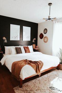 Mid Century Modern Bedroom Design Ideas « Home Decoration - Home Design Dream Bedroom, Home Bedroom, Black Master Bedroom, Master Suite, Bedroom Inspo, Master Bedroom Design, Bedroom Designs, Bedroom Interior Design, Modern Boho Master Bedroom