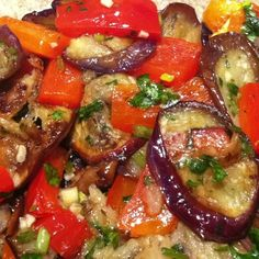 I Have Zlata Thoughts: Recipe: Sautéed Chinese Eggplant, Red Pepper, Garlic and Cilantro