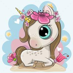 Cartoon Unicorn with Flowers on a Blue Background #Unicorn, #Cartoon, #Flowers, #Background