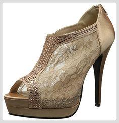 Fabulicious Elegante High Heels Ankle Peep Toe Pumps BELLA-26 Satin Rotbraun, Größe F:10 US / 40 - Damen pumps (*Partner-Link)