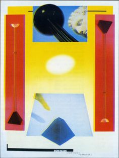 April Greiman (Graphic Designer), Ron Rezek Lighting and furniture,  1984.