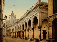Great Mosque in the Marine Street, Algiers, Algeria. Published in 1899 by the Detroit Photographic Comapny from a color chotochrom.
