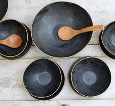 black salad bowl by lauriegceramics on Etsy, $42.00