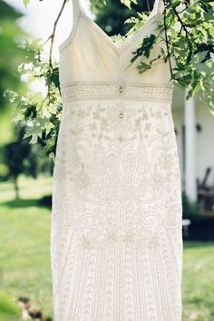Spaghetti strap, beaded Sue Wong wedding gown