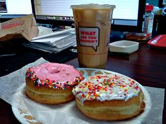 Dunkin' Doughnuts © Iced Doughnuts with Sprinkles. <3