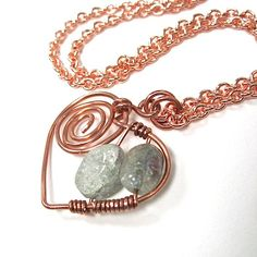 Seafoam Gemstone Heart Pendant Necklace by RoughMagicCreations, $38.00