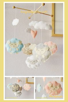 Lamb Baby Mobile - Baby Crib Mobile - Sweet Lamb Mobile - Baby Gift - Blue Pink Gray Sleepy Sheep Mobile (You can pick your colors)