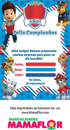 Mexican Invitations, Paw Patrol Invitations, Kids Birthday Party Invitations, Birthday Cards, 2nd Birthday, Paw Patrol Birthday Cake, Paw Patrol Party, Vintage Jeep, Planner Stickers