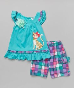 Teal Cat Top & Plaid Shorts - Infant, Toddler & Girls